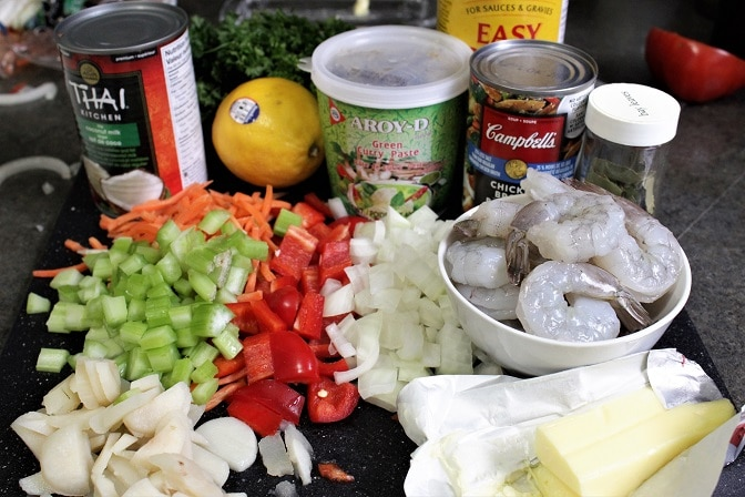 East Meets West Chowder ingredients