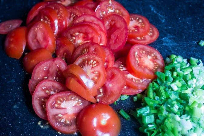 tomatoes and green onions