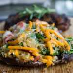 Grilled Stuffed Portobello Mushrooms, Stuffed with fresh veggies, cheese and herbs