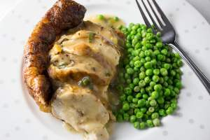 Easy Elegant Roast Chicken Breast and Gravy. Only 10 minutes hands on time. Elegant enough for company.