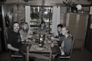 One of many delicious meals and conversation around our 100 year old farm table.