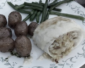 Now THIS is some fabulous trail magic! Crab stuffed Cod with new potatoes and green beans. Oh Yea!!