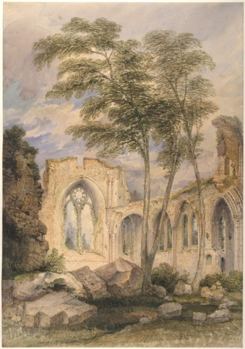 Netley Abbey in 1872 by John Chessell Buckler. Image from British Library.