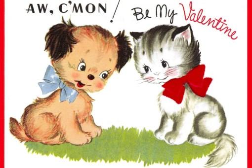 vintage puppy and kitten Valentine Day Greeting
