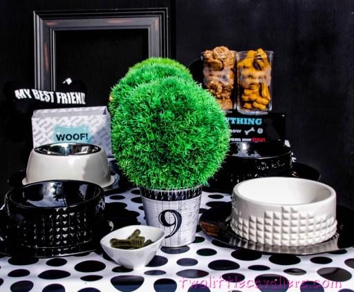 Dog Black & White Party Tablescape