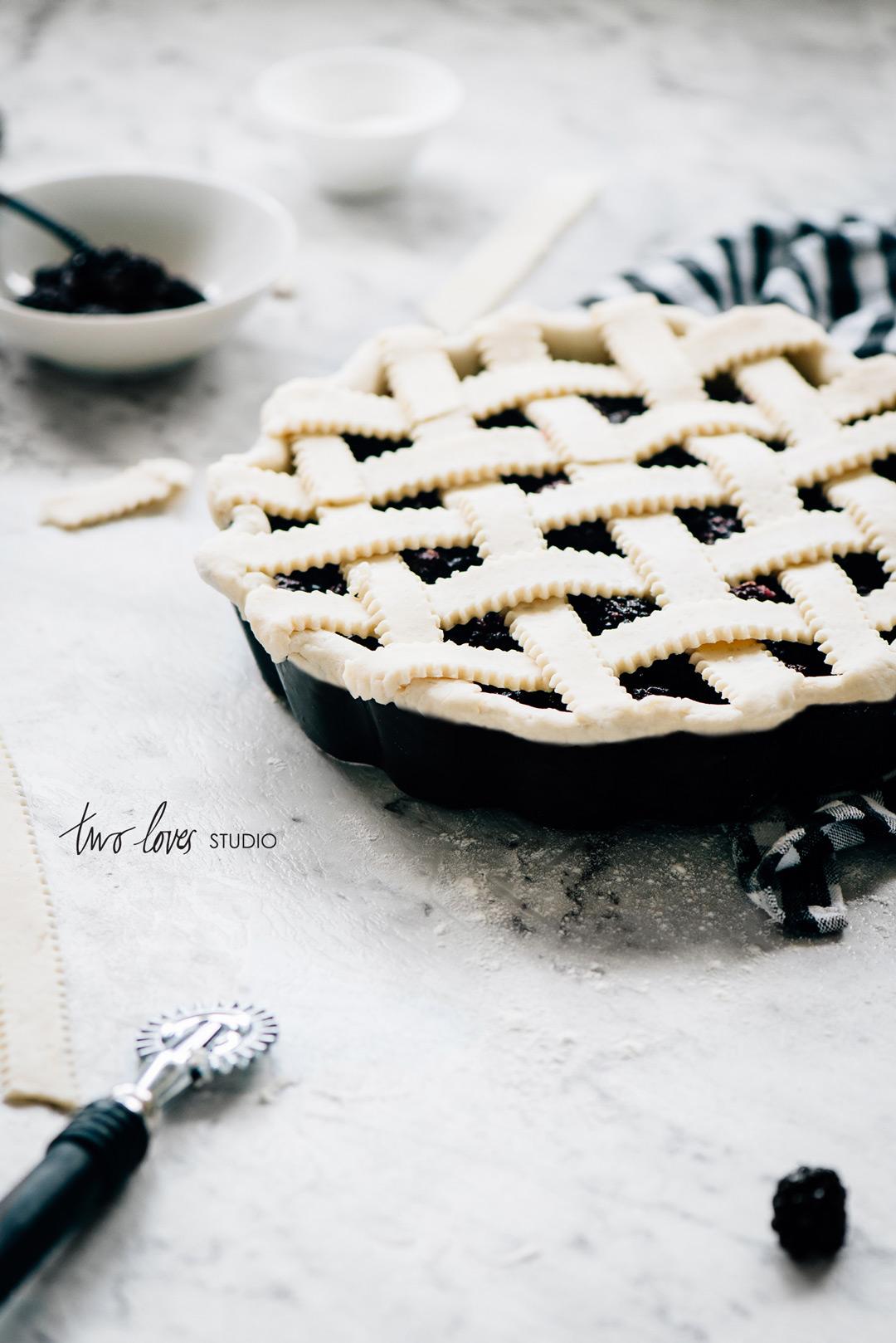 Two Loves Studio Black White Food Photography Blackberry Pie