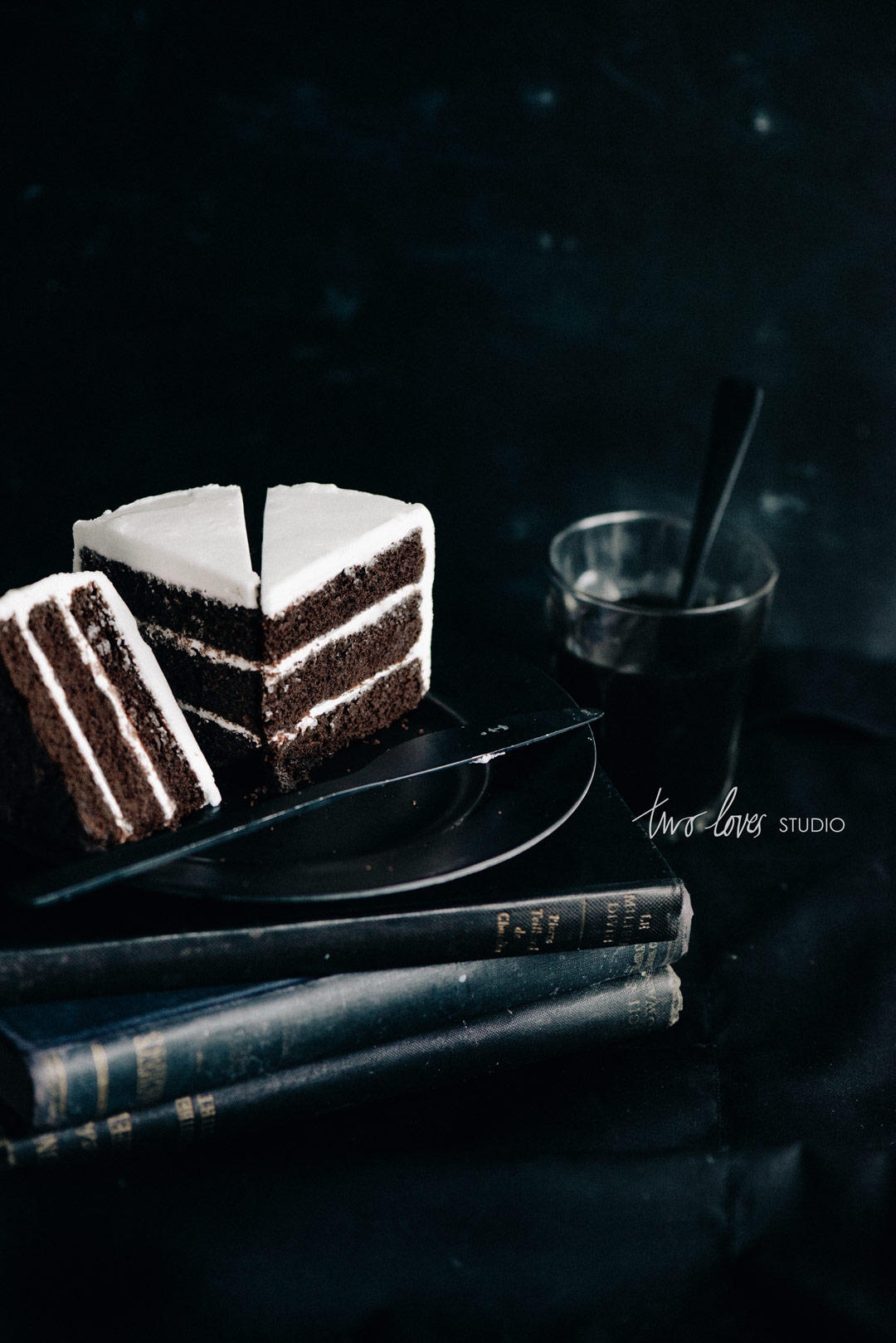 Two Loves Studio Black White Food Photography Chocolate Cake