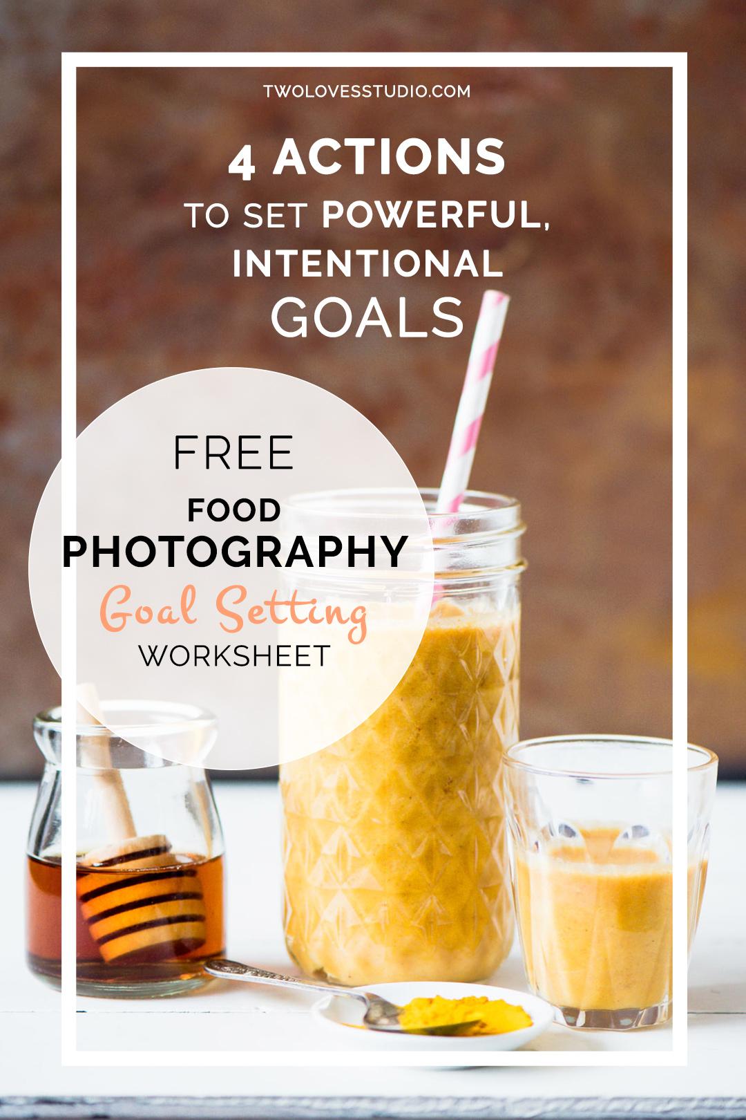 Free Food Photography Goal Setting Worksheet