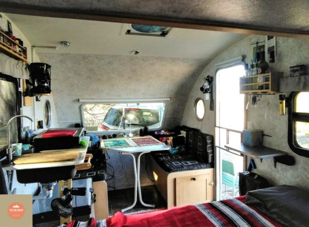Photo of Kitchen and Dining Room, Mark and Irene's Prolite Trailer.