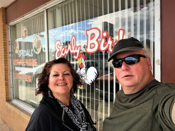 Photo of Robert and Debra in front of Early Bird Coffee Shop, Parker Arizona