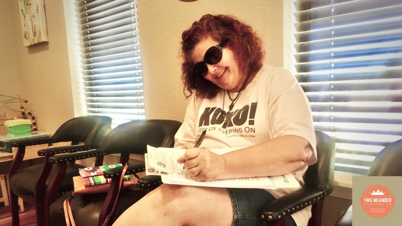 Photo: Debra at a medical appointment