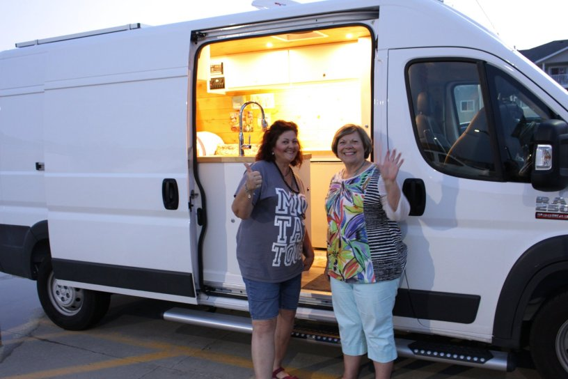 Photo Debra And Colleen Beside Colleens Dodge Promaster Camper Van Conversion