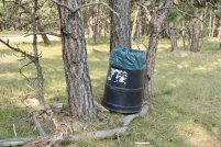 Photo: Trash can at Dogcamp