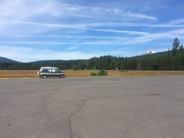 Photo: Van with Mt McLoughlin in the background