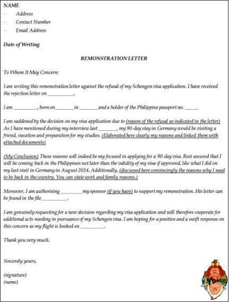 Remonstrance letter format