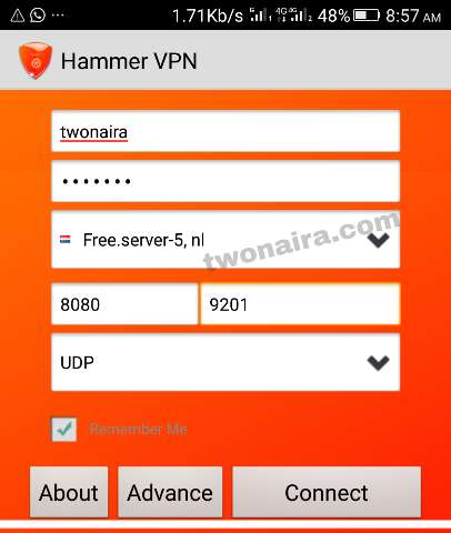 Hammer VPN Settings MTN free browsing cheat 2019
