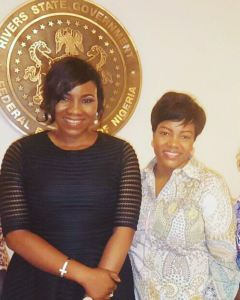 The First Lady of Rivers State, Her Excellency Hon. Justice Mrs. Eberechi Suzzette Nyesom Wike  and Ms. Jane Gam-Dede, Creative Director/Designer Twon-by-Jane