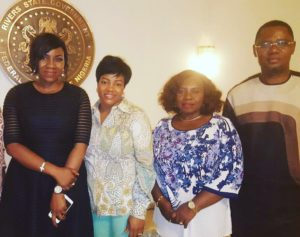 The First Lady of Rivers State, Hon.Justice Mrs. Eberechi Suzzette Nyesom Wike, Mr. Larry Pepple, ED/CEO RSSDA, Mrs. Emeka Woke wife of the Chief of Staff, Govt. House and the Creative Director/Designer Twon-by-Jane