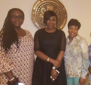 The wife of the Governor of Rivers State, Her Excellency, Hon.Justice Eberechi Suzzette Nyesom Wike, Hon. Mrs Toru Ofili, SA to the Government of Rivers State on Sustainable Development Goals and the Creative Director/Designer Twon-by-Jane