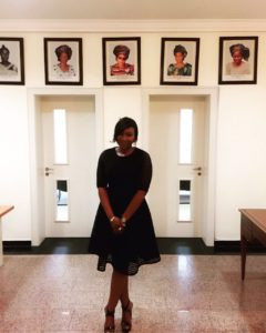 Creative Director/Designer Twon-by-jane at the reception of the office of the Wife of the Governor of Rivers State as she wait to officially present the the label to the First Lady for Rivers State