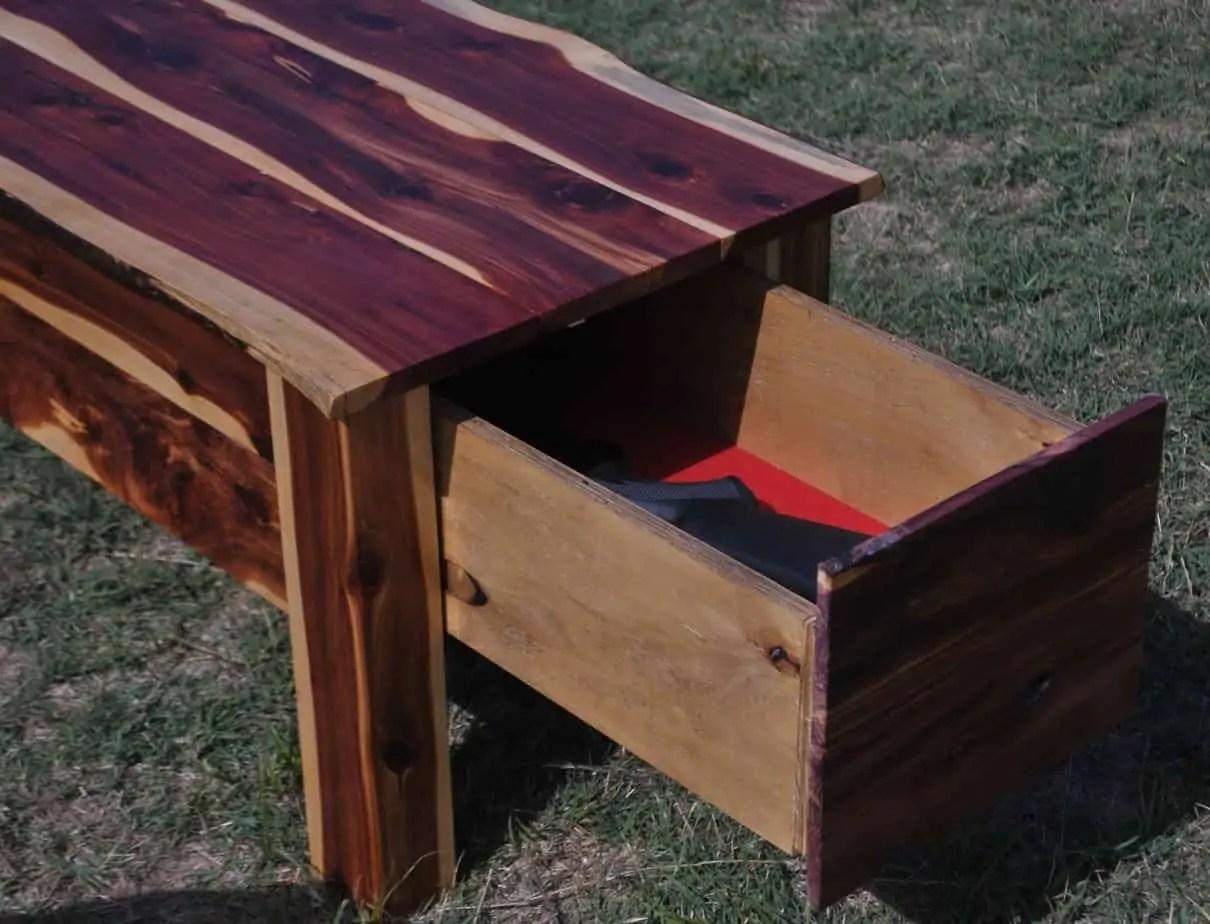 Red Cedar Coffee Table Hidden Gun Storage Two Oaks Farmstead