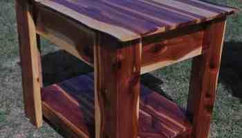 handcrafted furniture hidden gun storage, red cedar end table