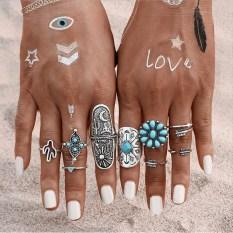 9-pcs-set-2016-new-vintage-bohemia-style-Engraving-Animal-arrow-turquoise-knuckel-ring-women-boho