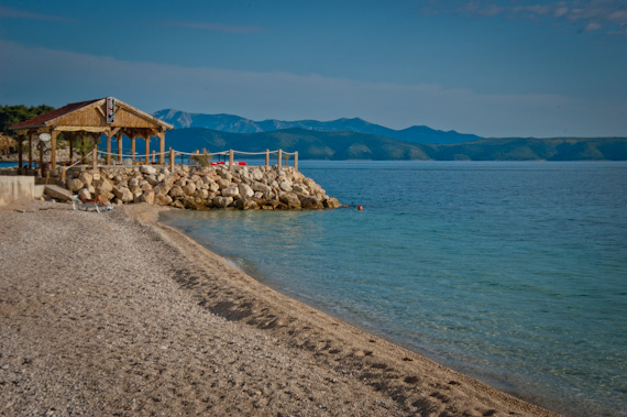 Cafe cabana overlooking the Adriatic sea on the Croatian coastline