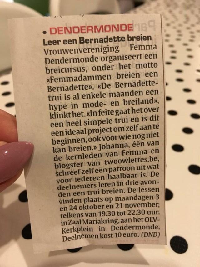krant De Femmadammen breien een Bernadette