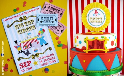 big top circus birthday carnival party cake cupcake clown animal ring ideas party printables supplies partyware party paperie stationery0113