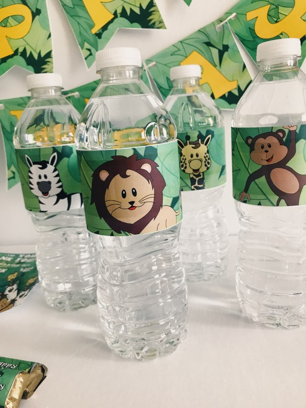 Jungle water bottle labels