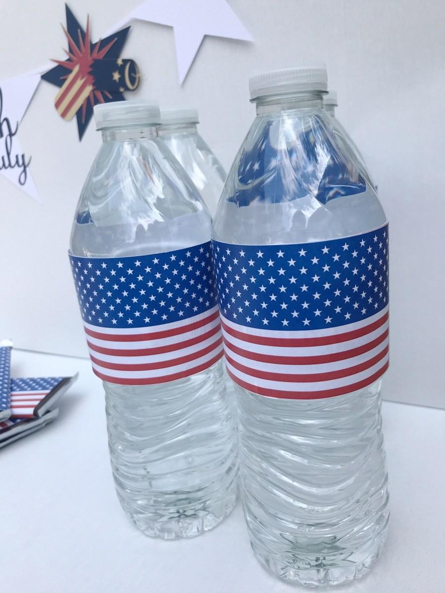 Flag Water Bottle Label