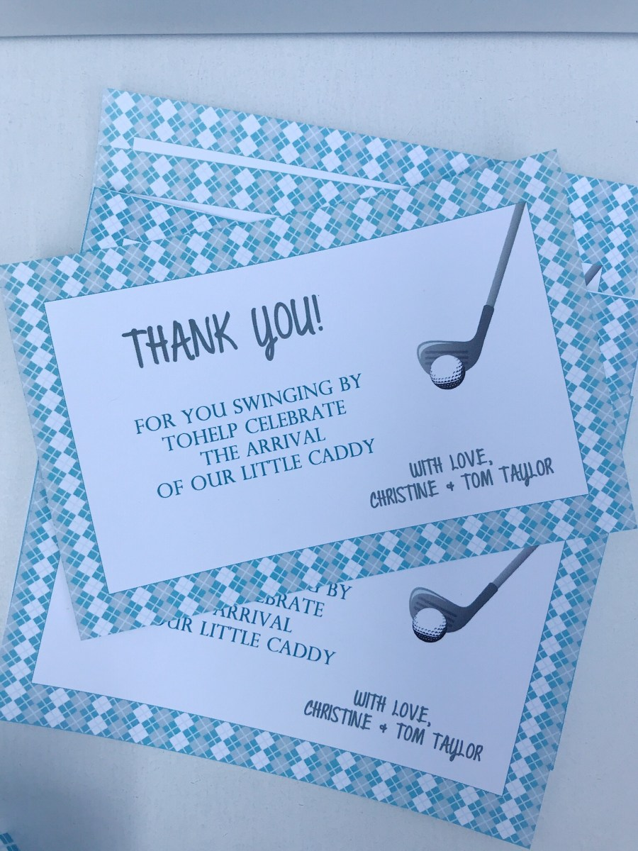 Golf Baby Shower Thank You Cards