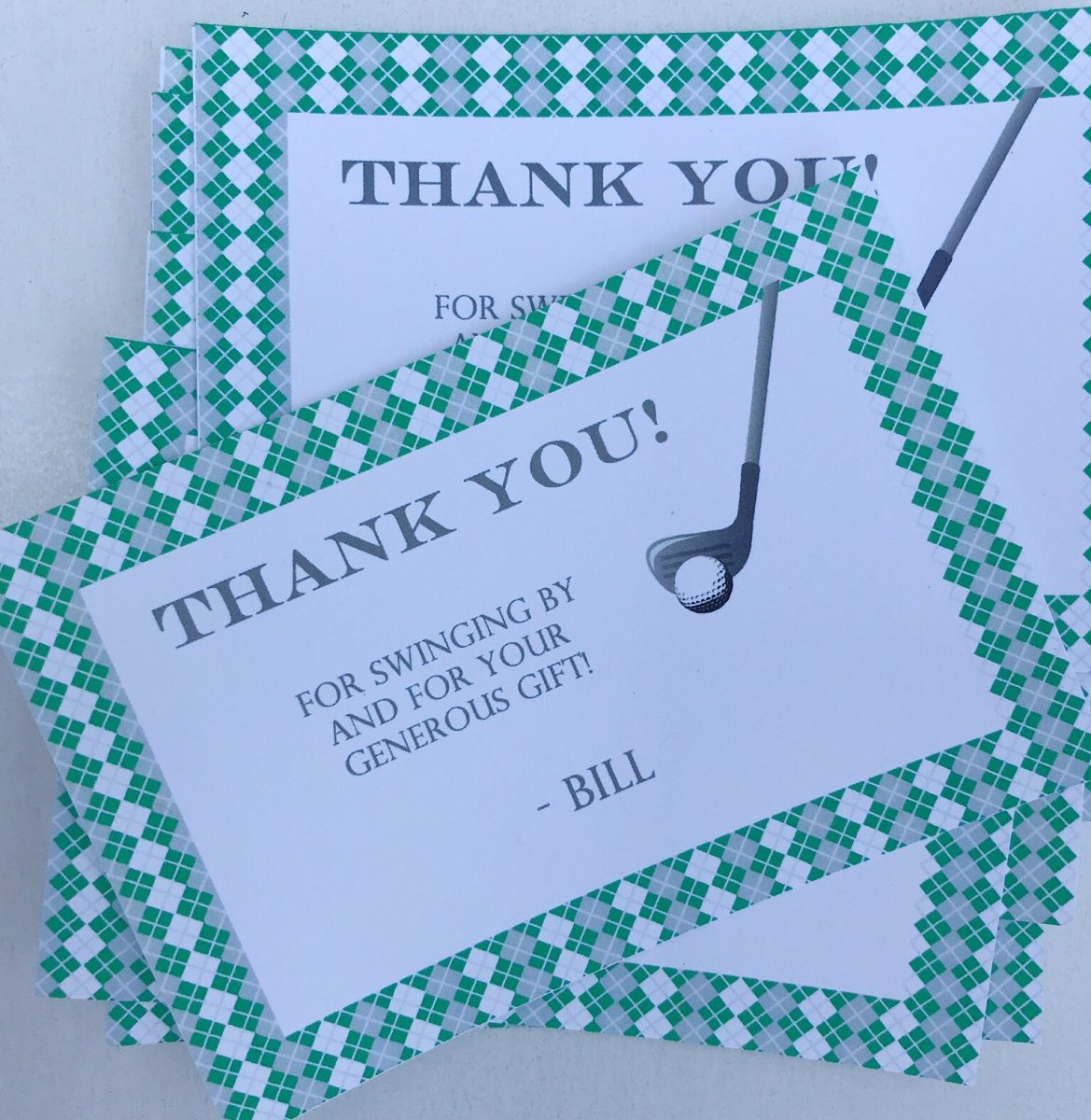 Golf Birthday Thank You Cards