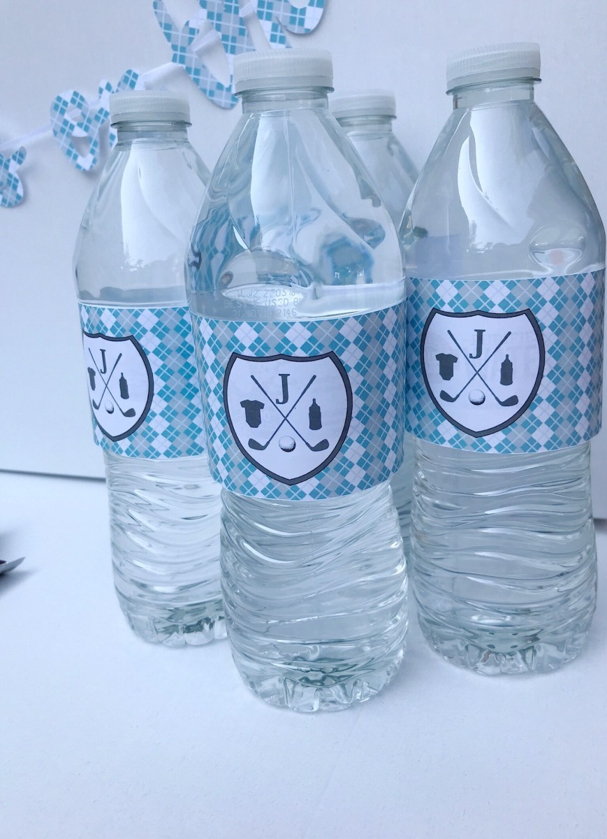 Golf Baby Shower Water Bottle Label