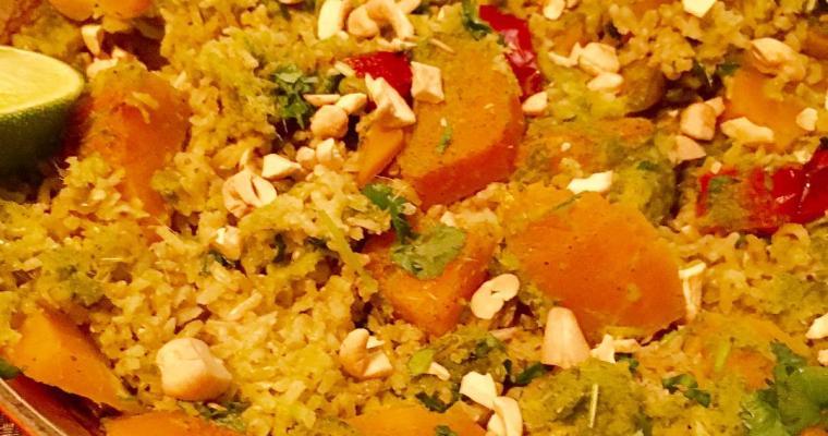 Vegan Laksa style recipe- Baked Butternut Squash and Cashew Nut