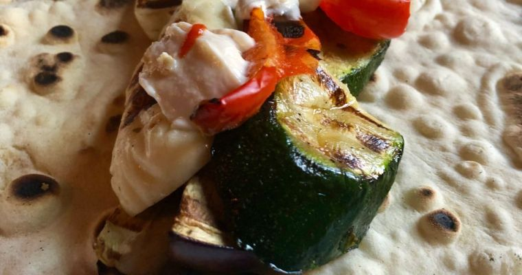Halloumi & Vegetable Flatbread Recipe with Tahini Dressing