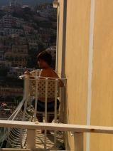 Thomas enjoying the view form our very petite balcony