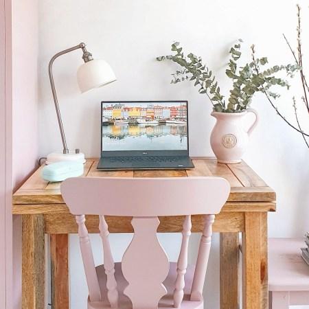 Pink chair, pink locker, laptop