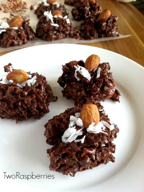 Gooey Chocolate Almond Coconut Stacks