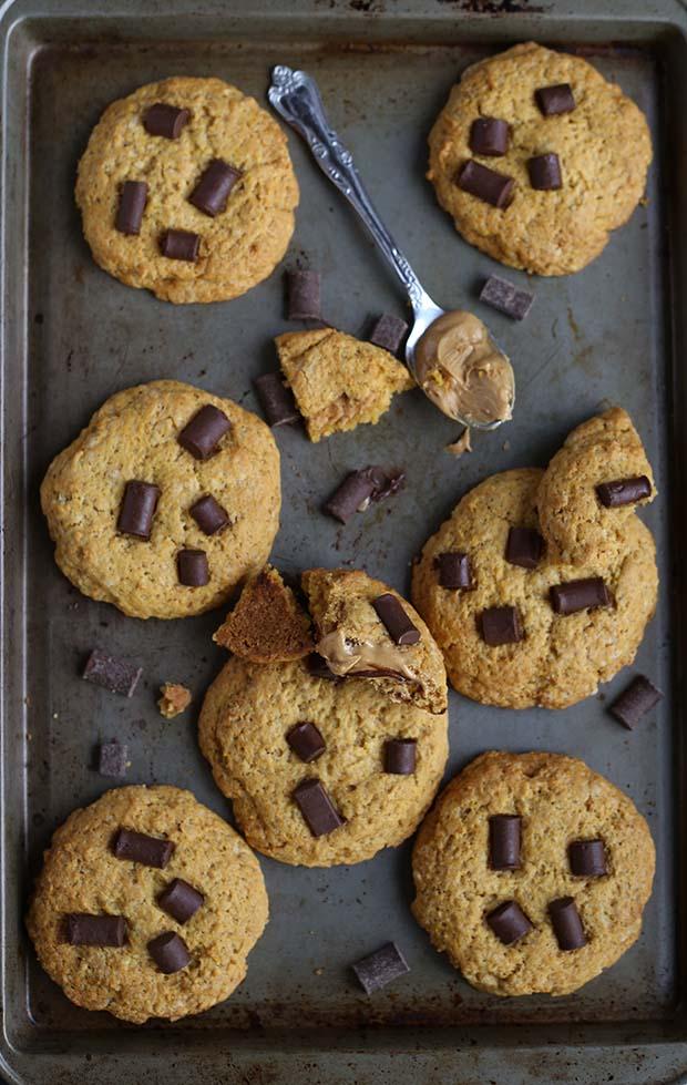 Chocolate Chip PB Stuffed Cookies - TwoRaspberries