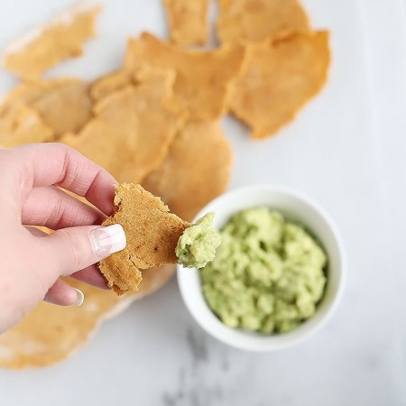 Soft Chili Tortilla Chips with Avocado Lime Dip