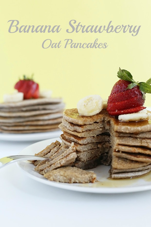 Strawberry Banana Oat Pancakes are full of fiber from the oat's healthy and easy to make! They are naturally sweetened, vegan and gluten free./ TwoRaspberries.com