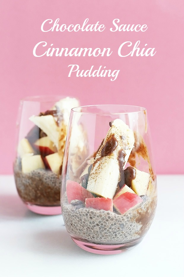Chocolate Sauce Cinnamon Chia Pudding is one of my favorites! Super food chia seeds paired with healthy chocolate sauce and fruit is a perfect combo. Vegan and gluten free / TwoRaspberries.com
