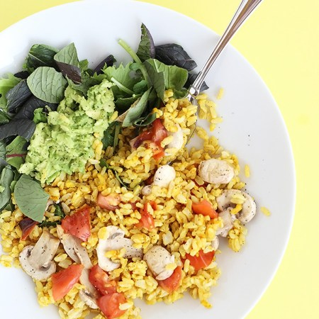 Healthy Brown Rice Curry Salad Bowl