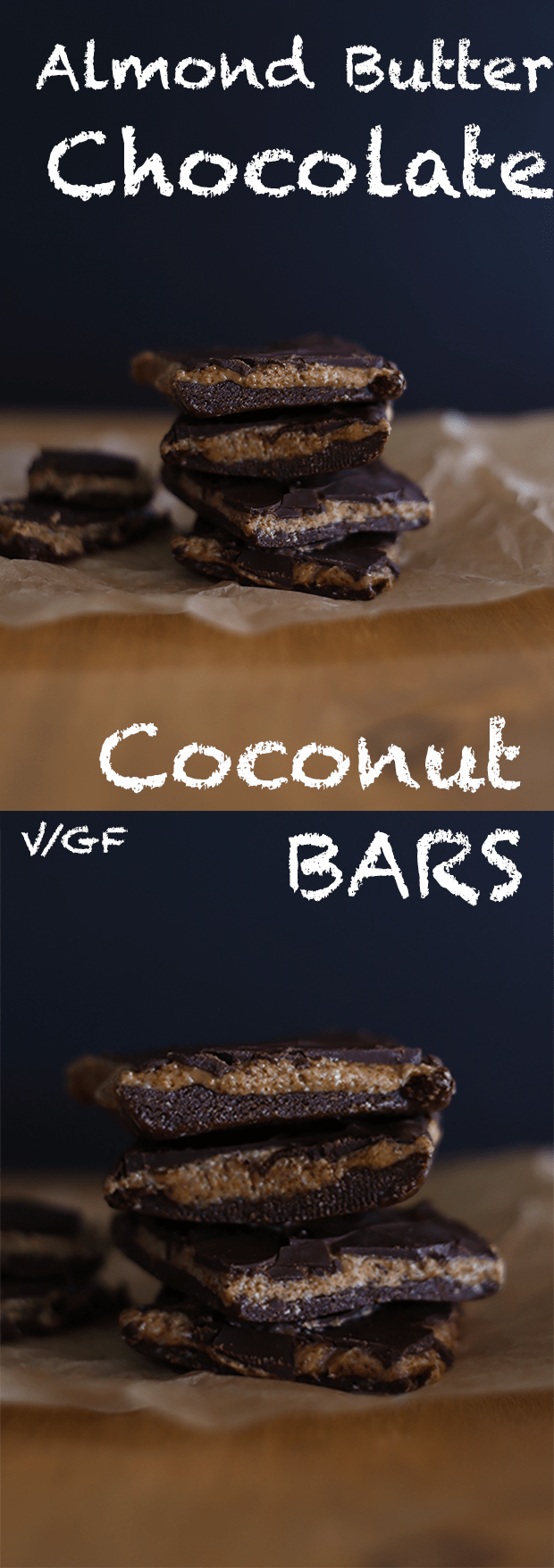 These Almond Butter Chocolate Coconut Bars are super easy to make, no baking required, chewy, creamy and crunchy as well as vegan + GF!   TwoRaspberries.com