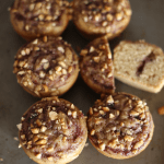 These Peanut Butter and Jelly Muffins are healthy, easy to make and will totally remind you of your favorite childhood snack, PB&J sandwich! Vegan + GF | TwoRaspberries.com