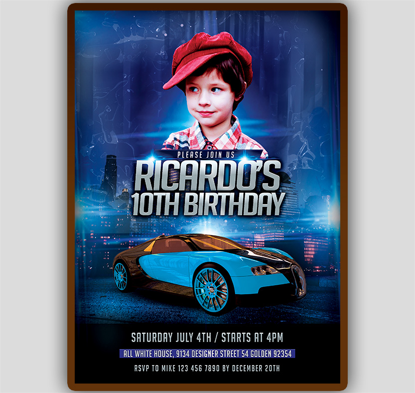 car birthday invitation template