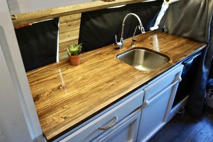 vanlife stunning diy wooden countertop