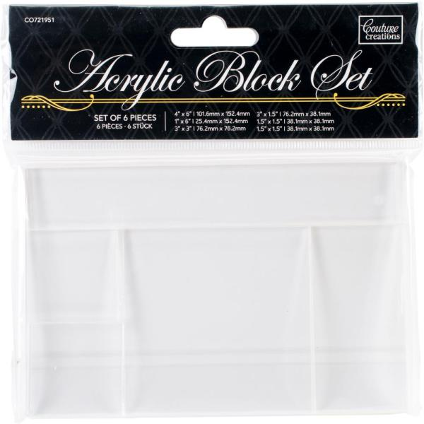Couture Creations ACRYLIC BLOCK SET for unmounted stamps - 6 Pce